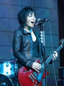 Joan Jett with red guitar