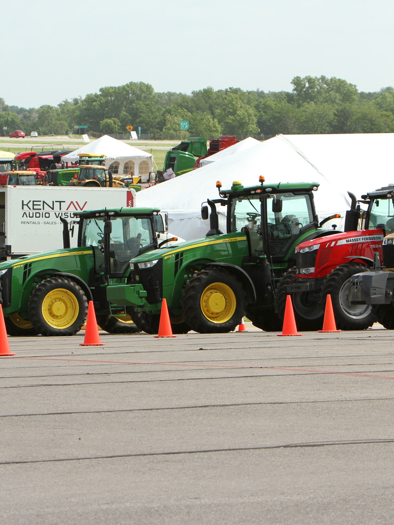 Multiple tractors setup for employee training event