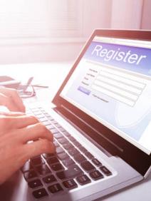 Man registering for event online