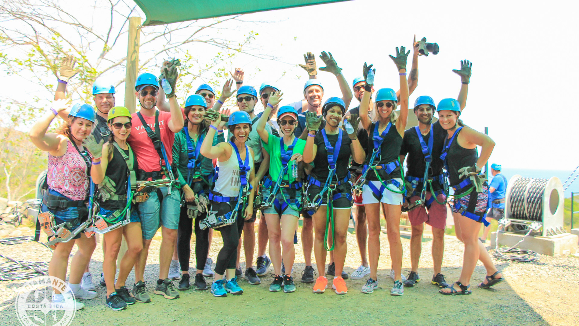 Group photo of incentive trip winners getting ready to zipline in Costa Rica