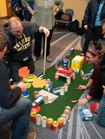 Team building golf course out of donatable items