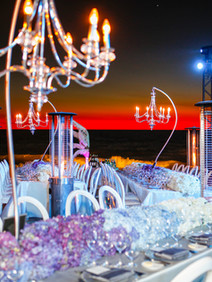 Chandeliers added to beach decor for awards ceremony