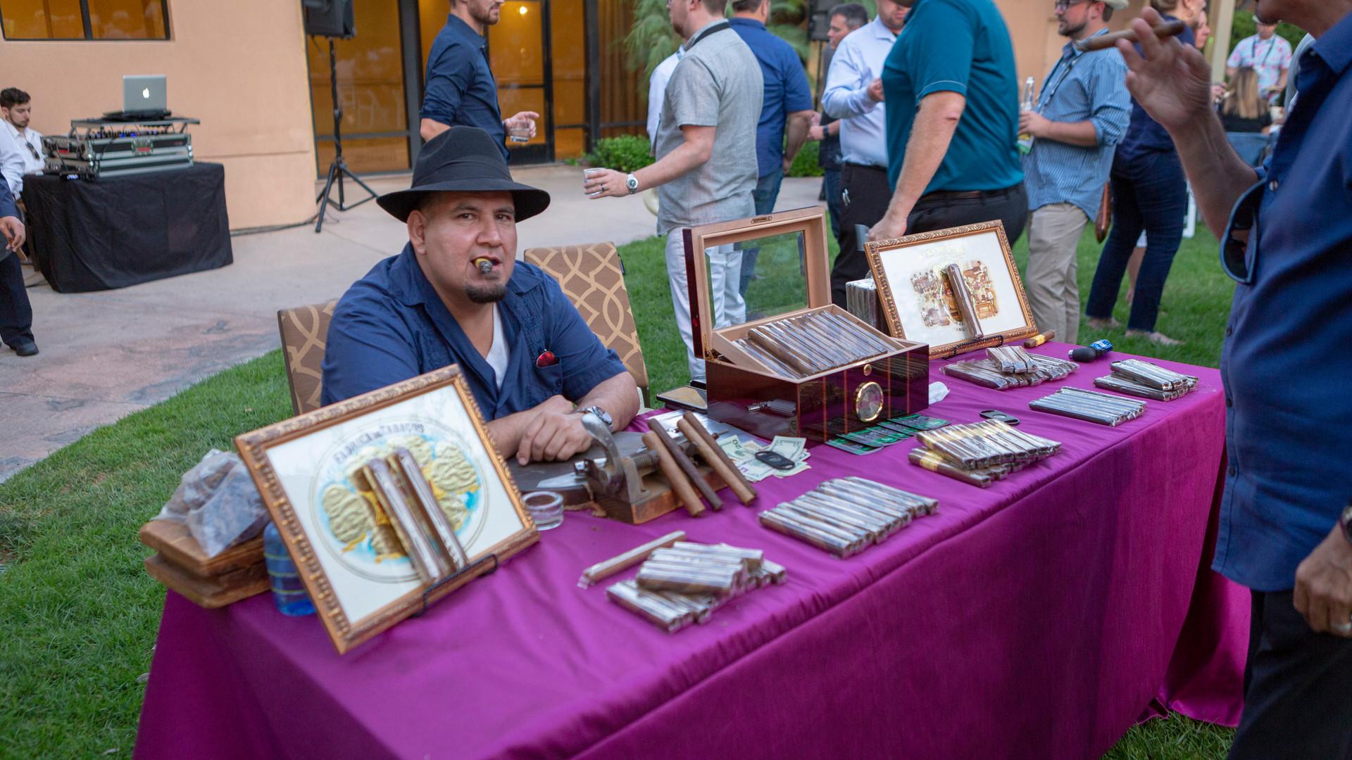 Cigar rollers setup at Havana Nights themed event