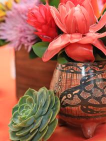 Tropical floral centerpiece with succulents