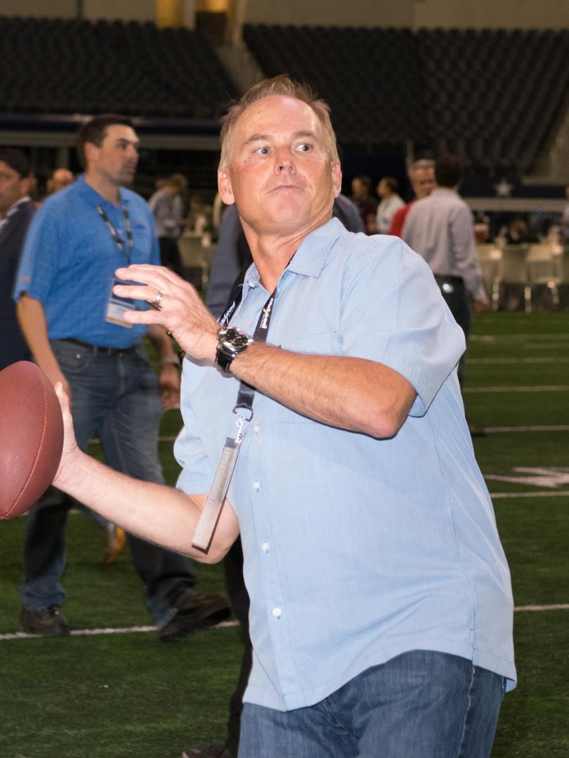 Man throwing football