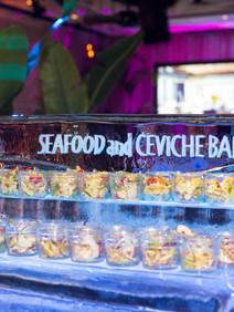 Ice sculpture ceviche & seafood bar