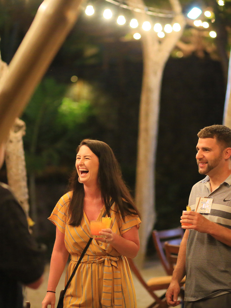 Couple laughing at evening reception