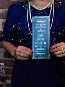 Custom 1920s drink menu for Roaring at Rising party