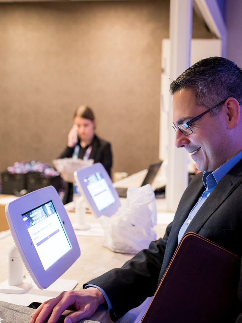 Man registering for corporate event