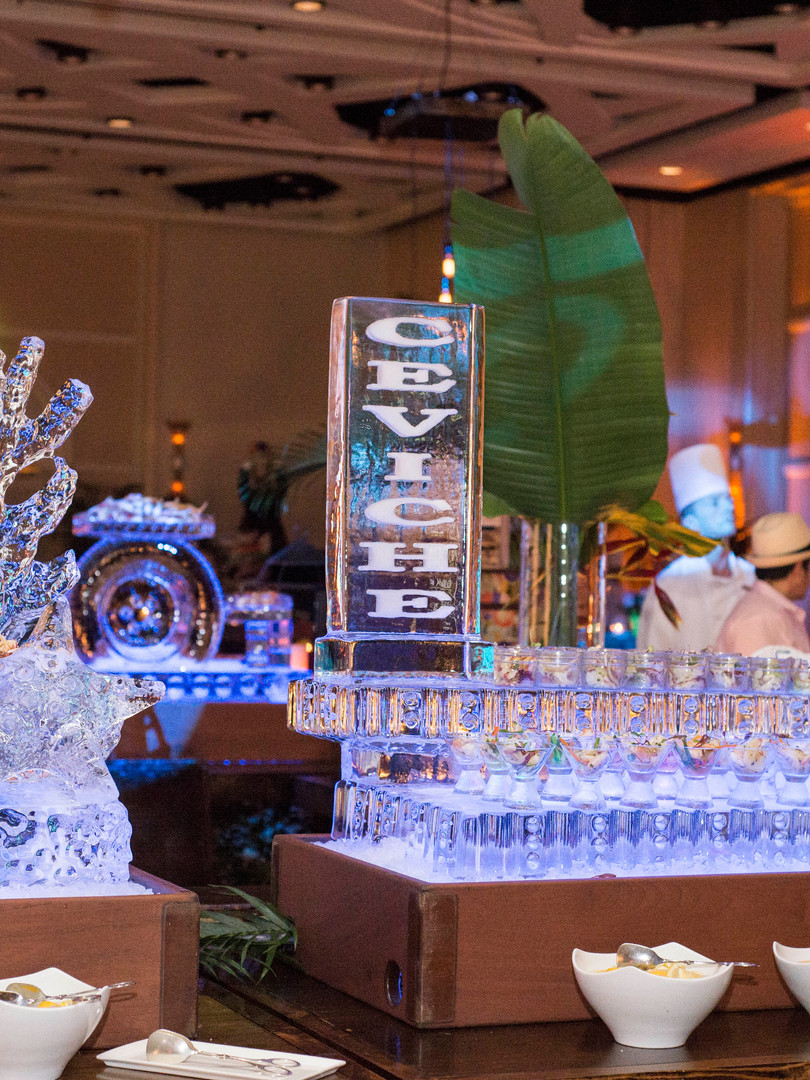 Custom ice sculpture made for luxury hotel event
