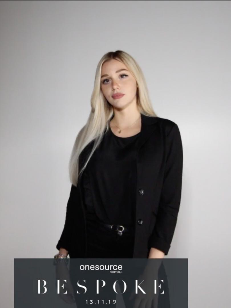 Model using custom photo booth