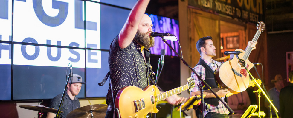 Band performing at FGL House for evening event