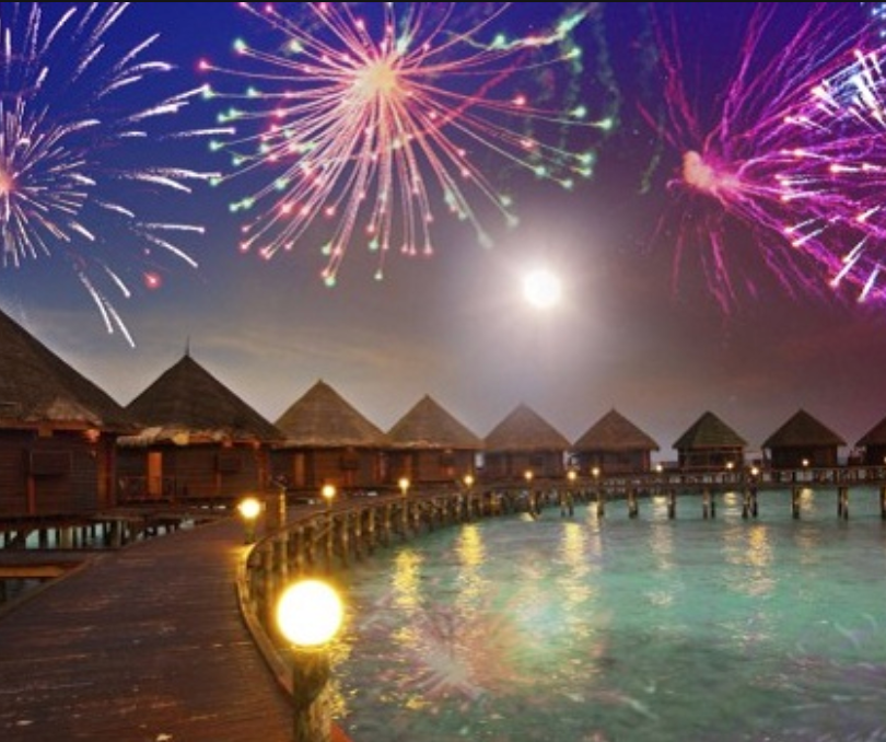 Fireworks over bungalows at President's Club trip