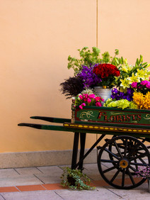 Flower cart incorporated into event decor