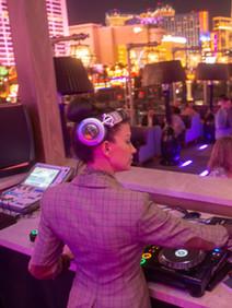 Woman DJ on Omnia roof in Vegas