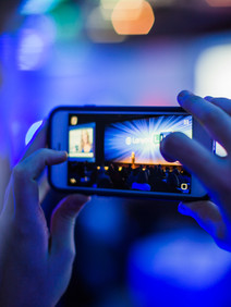 Cell phone capturing stage for social media post