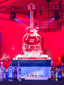 Branded ice sculpture made to look like a guitar