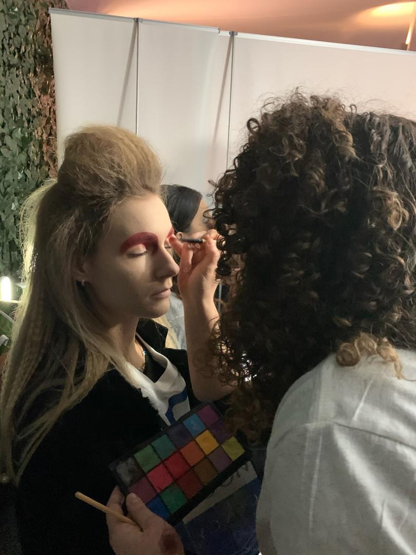 Makeup application for runway models