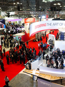 trade show floor with red carpet