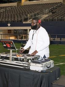 DJ on football field