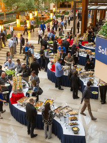 Birdseye view of buffet served at conference