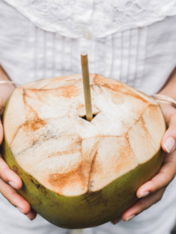 Drink out of coconut