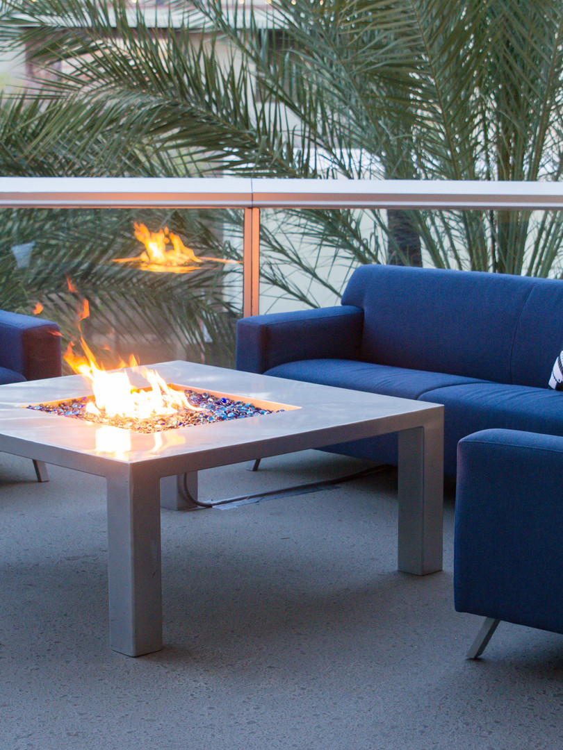 Outdoor couches with firepit