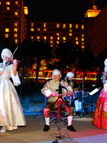 Costumed band playing for corporate awards dinner
