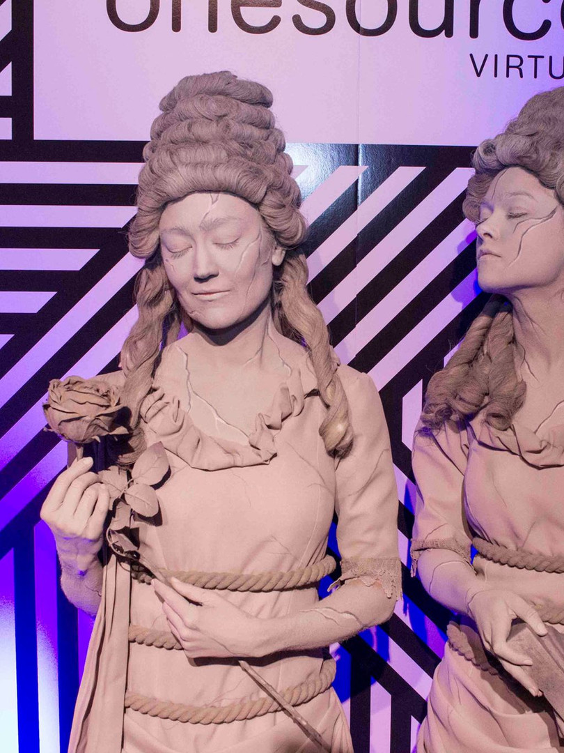 Two women dressed as statues