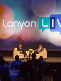 Speakers setup in casual setting for Lanyone Live Users Conference