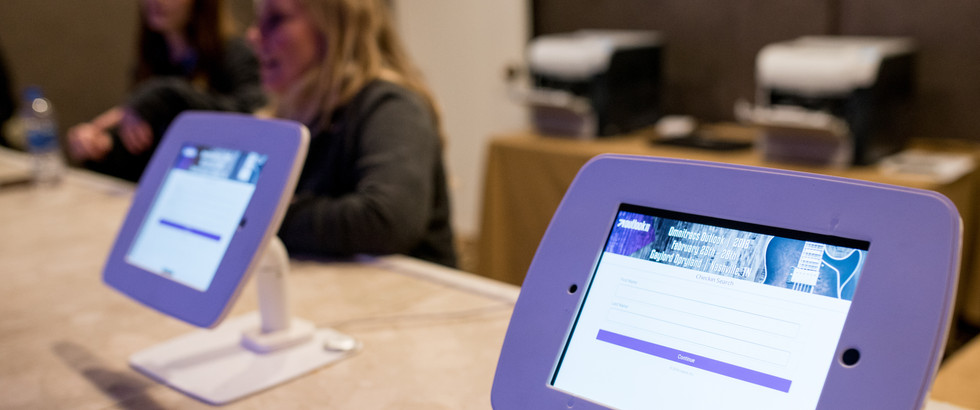 Technology used for event check-in at corporate conference