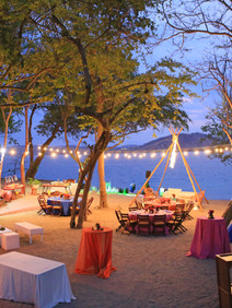 String lights to create ambience for beach event