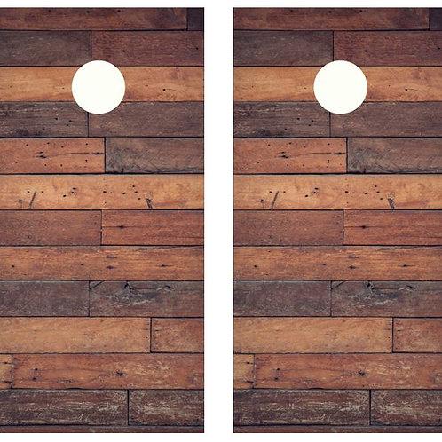Dark Plank Wood Cornhole Wood Board Skin Wrap