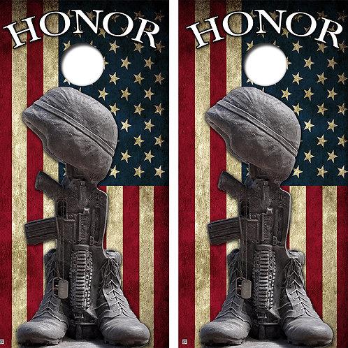 Honor The Troops Cornhole Board Skin Wraps FREE LAMINATE