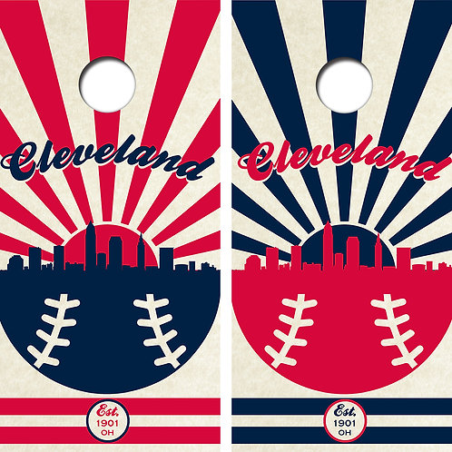 Cleveland Baseball Cornhole Wood Board Skin Wraps FREE LAMINATE