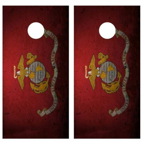Grunge Marine Corps Flag Cornhole Wood Board Skin Wrap