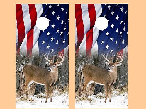American Flag Deer Cornhole Wood Board Skin Wr