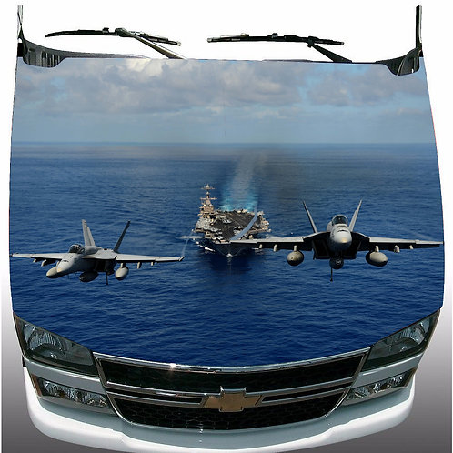 2 U.S. Navy Hornet Jets Hood Wrap Vinyl Graphic Decal Sticker Wrap Car or Truck