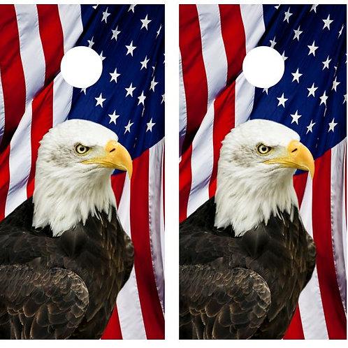 Bald Eagle American Flag Cornhole Wood Board Skin Wrap