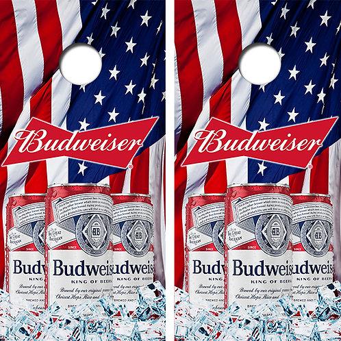 copy of Busch Latte American Flag Cornhole Wood Board Skin Wrap