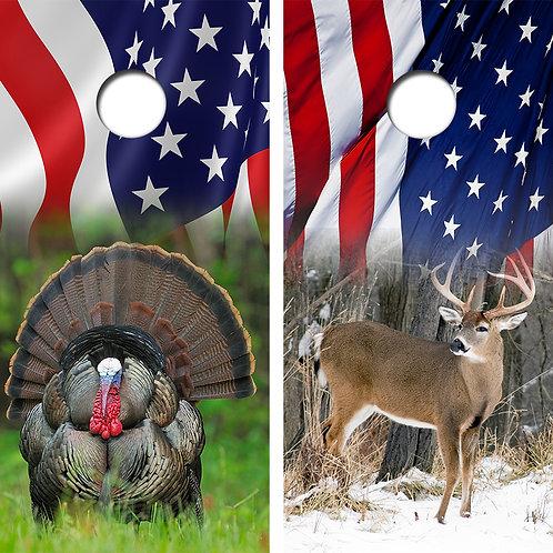Turkey Deer Cornhole Board Skin Wraps FREE LAMINATE