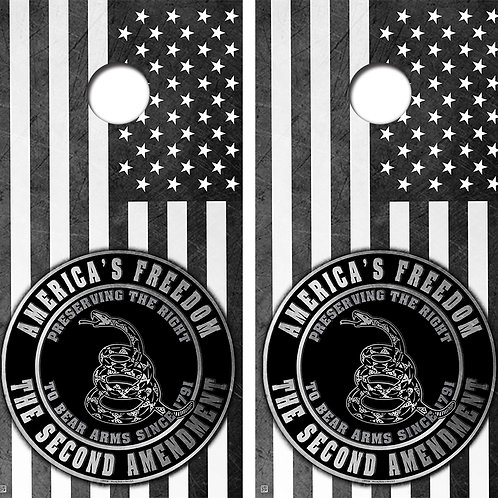 2nd Amendment Cornhole Board Skin Wraps FREE LAMINATE