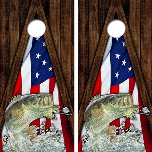 Bass American Flag Cornhole Wood Board Skin Wrap