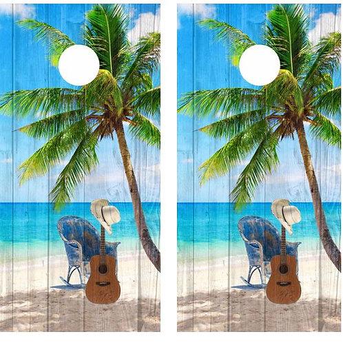 Tropical Palm Tree Guitar Beach Barnwood Cornhole Wood Board Skin Wr