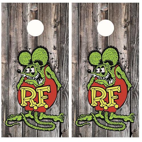 Rat Fink Barnwood Cornhole Wood Board Skin Wrap