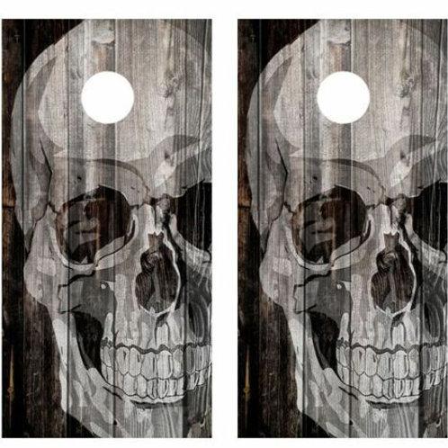 Skull Barnwood Cornhole Wood Board Skin Wrap