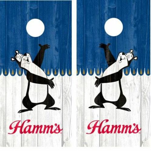 Hamm's Beer Bear Barnwood Cornhole Wood Board Skin Wrap