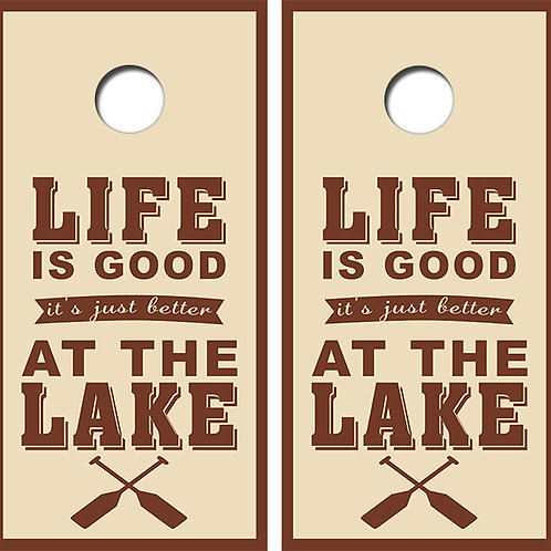 Life Is Good At The Lake Cornhole Wood Board Skin Wrap