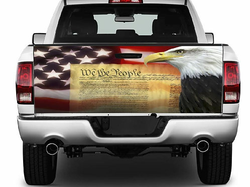 We The People, Eagle, Flag Tailgate Wrap Vinyl Graphic Decal Sticker