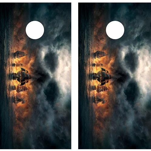 Pirate Fleet w/ Skull cloud Cornhole Wood Board Skin Wrap